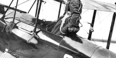Amy Johnson in the cockpit